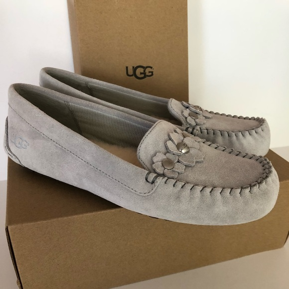 a45e344809d UGG Lizzy Poppy Gray Violet Moccasins Slippers nib NWT